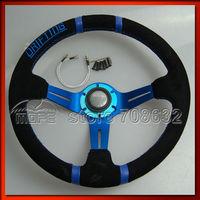 SPECIAL OFFER Original Logo 90mm Deep Dish Blue Stitch 350MM Drifting Suede Steering Wheel