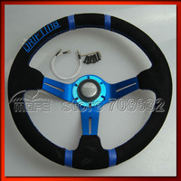 SPECIAL OFFER Original Logo Suede Leather 90mm Deep Corn / Dish Blue Stitch 350MM Drifting Steering Wheel