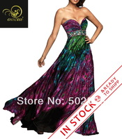 Real Photoes Printing Fabirc Pleat and Beading Handwork Strapless Long Prom Dress OL101837 Free Shpping
