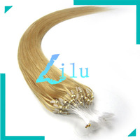 """16""""-26"""" Natural Silky Straight Micro Loop Ring/Beads Hair Extension #24 medium blonde,100s per pack free shipping"""