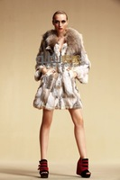 2013 Women Fashion 100% Genuine Rabbit Fur Coat with Raccoon Fur Collar Outwear Garment  Plus Size QD5773