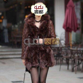 Winter Women's Genuine Sheepskin Leather Coat Fox Fur Collar Patchwork Lady Slim Belt Outerwear  QD11642