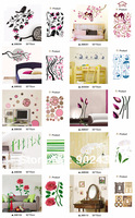Mixed Wholesale 270 Designs PVC Wall Stickers High quality Home decor Wall decals 50 Sheets/lot