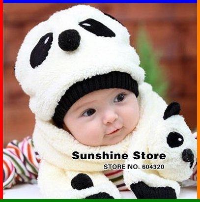 Sunshine Store #2C2582 retail one set Cartoon Panda Baby Hat and Scarf Set, Kids Winter Fleece Hat Scarf, children Cap CPAM(China (Mainland))