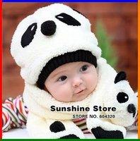 Sunshine Store  #2C2582 retail one set Cartoon Panda Baby Hat and Scarf Set, Kids Winter  Fleece Hat Scarf, children Cap CPAM