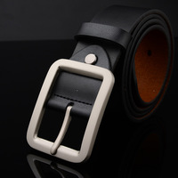 genuine leather belts   New Arrival! 2015 new fashion black buckle belt real leather belts Free shipping