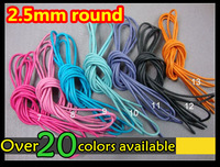 2015 Big Promotion~50pair/lot~2.5mm round waxed laces~23 colors~custom waxed shoelaces~dress shoelaces~custom round waxed laces