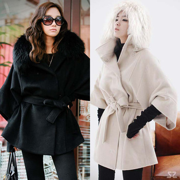 2013 Winter Ladies Sexy Fox Fur Collar Outerwear Women's Fashion Long Black White Coat Fur Jacket Wool Clothes overcoat S M L