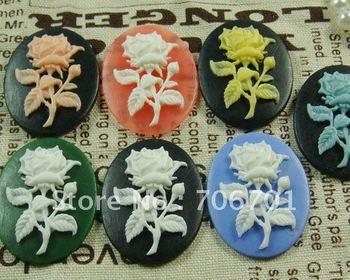 Supernova sales Freeshipping 30*40mm 7 colors Resin Flower Cabochons Necklace Pendant Wholesale 100PCS/LOT