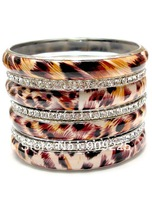 Best Sale Leopard Bangles Mix Metal Bracelet with Rhinestone. Multi Layers Bangle Set for Women. Wholesale Animal Print Bangles.