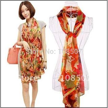 lady's Bohemia's VINTAGE fashion horse printed floral silk long scarf shawls wholesale Designer hot sale 10pcs/lot