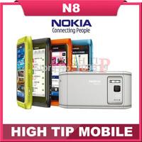 "Nokia Unlocked original 3G mobile phone N8 GSM  WIFI GPS 12MP Touchscreen 3.5""  16GB Internal  free shipping Refurbished"