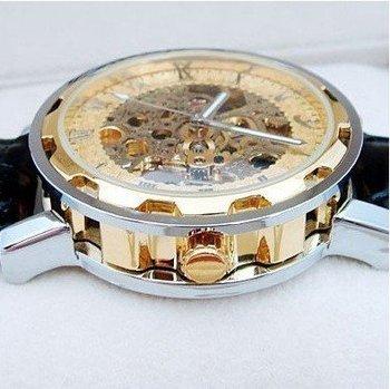 Mens Face Automatic Luxury Steel Wrist Watch Skeleton men's Mechanical watch Xmas Gift Free Ship