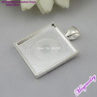 Free Shipping Alloy Pendants For Jewelry Making 100pcs/lot Silver 25mm Square Blank Pendant Tray Fashion Jewelry Findings