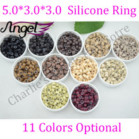 15bottles 5.0mm*3.0mm*3.0mm Micro Silicone Rings/Links/Beads For Human Hair Extensions, #black 7 Colors Optional Free Shipping