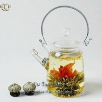 1 pcs Glass Teapot + 9 pcs different Blooming Tea No Dripping heat resistant handmade blooming tea flower and kettle