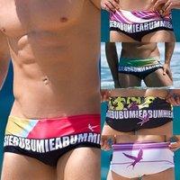 2014 Free Shipping Fashion low waist flat man swimming trunks men's dazzle colour printing swimming trunks S M L  XL  Nylon