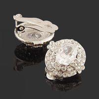 cubic zirconia clip on earrings gold-tone oval full crystal BA-158 5 COLORS sparkle  Beauty Paradise Rihood Trading
