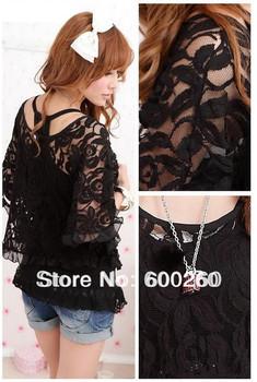 Korea fashionCotton 2-Piece Lace Shirt Casual Batwing Sleeve Lace Blouses shirt Women's Off Shoulder T-Shirt  Free Shipping 5108