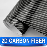 Black 2D Carbon Fiber Vinyl 1.52*30m Glossy High Quality Calendared PVC Car Wrap  Film Free Shipping Wholesale