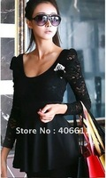 discount 10%  best quality  Elegnat Lace Black evening Dress women ladies sexy cotton lace maxi casual dress spring autumn