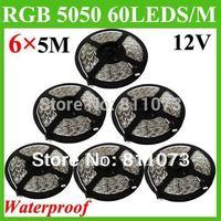 30M/LOT 5M/ROLL SMD 5050 RGB 300 Led Waterproof IP65 Flexible 60Leds/M Strip