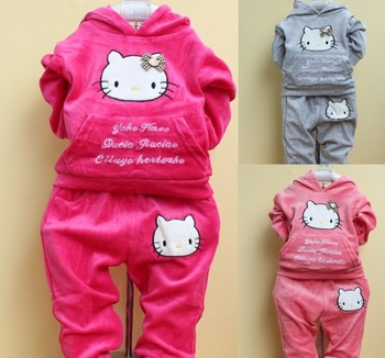 Retail one set baby girls winter-autumn velvet tracksuit 2pcs Hello kitty thick sports suits hoodie+pants 0-3T girls sets