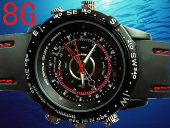 Retail Box Built-in 8GB Waterproof Watch  Digital Video Camera 720x480 AVI Mini Camcorder DVR with Box dropshipping