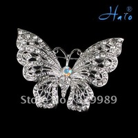 Free shipping 6pcs/lot Fashion Butterfly Rhinestone Crystal Brooch Pin Alloy Metal Silver Plating Brooch Jewelry P168-389A