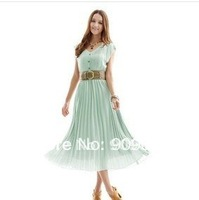 Freeshipping blue/brown long dress pleated maxi dresses v neck bohemian dress with belts