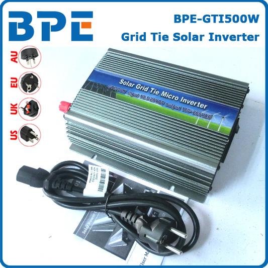 On Grid Inverter 500W Grid Tie Inverter for Solar System, DC10.5~28V Pure Sine Wave Inverter, CE, RoHS(China (Mainland))