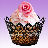 Hot!!! 2014 laser cut black filigree style cupcake wrappers for wedding decoration