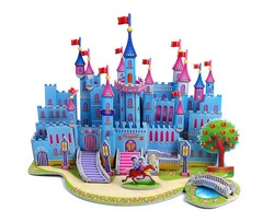 The 3D puzzle Educational Toys for Children diy house Paper model - blue castle(China (Mainland))