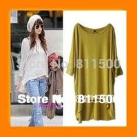 European street style women's plus size t-shirt Irregular long tops candy color three quarter t shirt