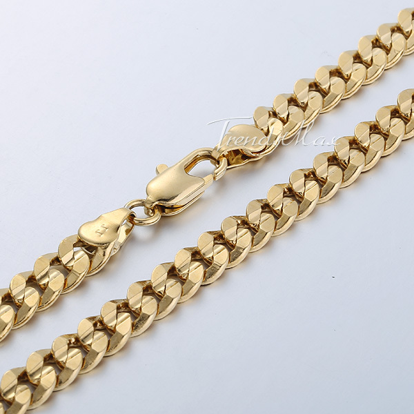 Customized 6MM Curb Cuban Chain Necklace 18K Gold Rose Filled Necklace MENS BOYS Chain Necklace Fashion