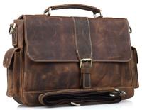 Men Cowhide Leather Briefcase Laptop Tote Shoulder Messenger Bag New Arrival Free shipping TIDING 9917