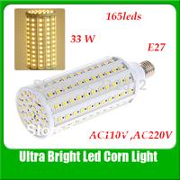 Free Shipping E27 33W 165 LEDs Corn Light AC 110 or 220V 5050 Led Bulb YM0020
