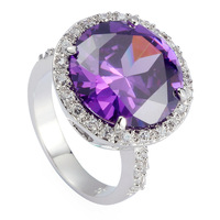 Amethyst Cubic Zirconia  Romantic fashion 925 Silver  RING R485 sz#6 7 8 9