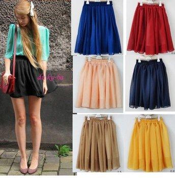 Hot sale blue/pink/red/yellow high street fashion skirt circle mini skirts women 2015