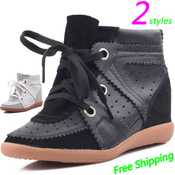 Isabel Marant Bobby Wedges Sneakers,Lace-up Genuine Leather Color 2-tyles Black,Size 35~41,Height Increasing 6cm,Women's Shoes