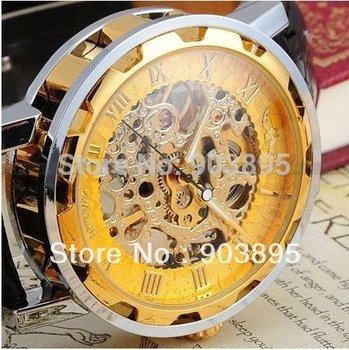 New  Dress fashion clock style Gold Tone Skeleton Mechanical Men  women watch