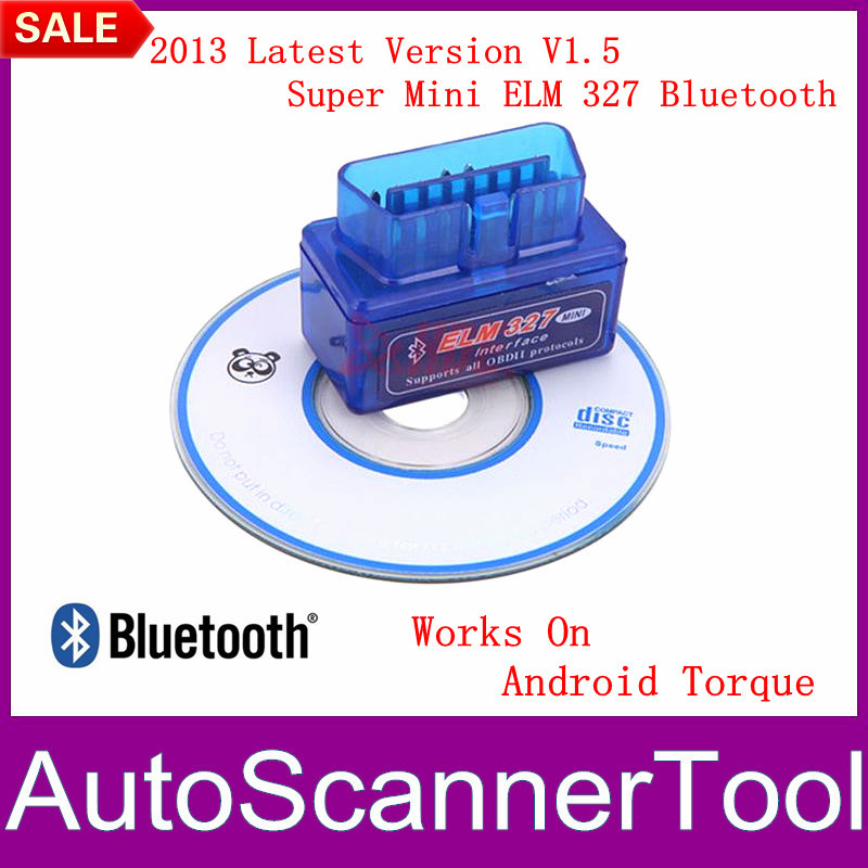 Works On Android Torque Super Mini ELM 327 Bluetooth OBD II Mini 2013 Latest V1.5 For Multi-brands Free Shipping(China (Mainland))