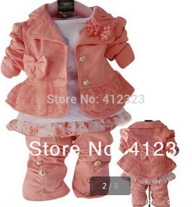 2014 children girls clothes set for spring autumn Baby girls clothing set 3pcs sets kids hoody coat+shirt+pants baby clothes(China (Mainland))