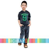 Best Selling Hot Free Shipping Autumn/Winter Clothing Boys Velvet Clothing Set Number 9 Print Hoodies+Pants  K0180