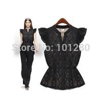 Women Lace Blouse New 2014 Summer Fashion Short Sleeve Black Blouse Shirt Women Tops Blusas Femininas Women Clothing T004