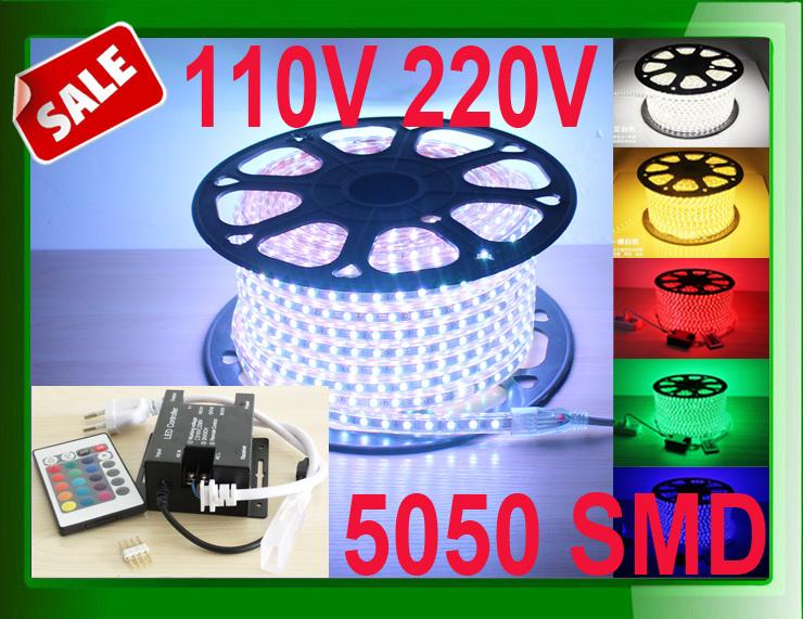 ( in stock ) RGB led strip 5050 waterproof LED strip colorful lights lighting ,110V 220V LED Strip+ RGB controller + dimmer(China (Mainland))