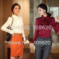 Hot  Selling  women blouse OL shirt Chiffon top long sleeve blouse outdoor shirt tops office summer shirt