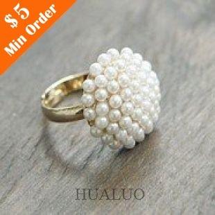 Elegant Cute Mushroom Head Of White Lmitation Pearl Rings Jewellery  R146