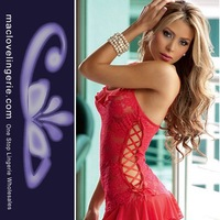 Free Shipping Cheaper price Fast Delivery Cut Out Side Design Espiral Sexy Lingerie Lace Babydoll Cotton Red Sleepwear Dress