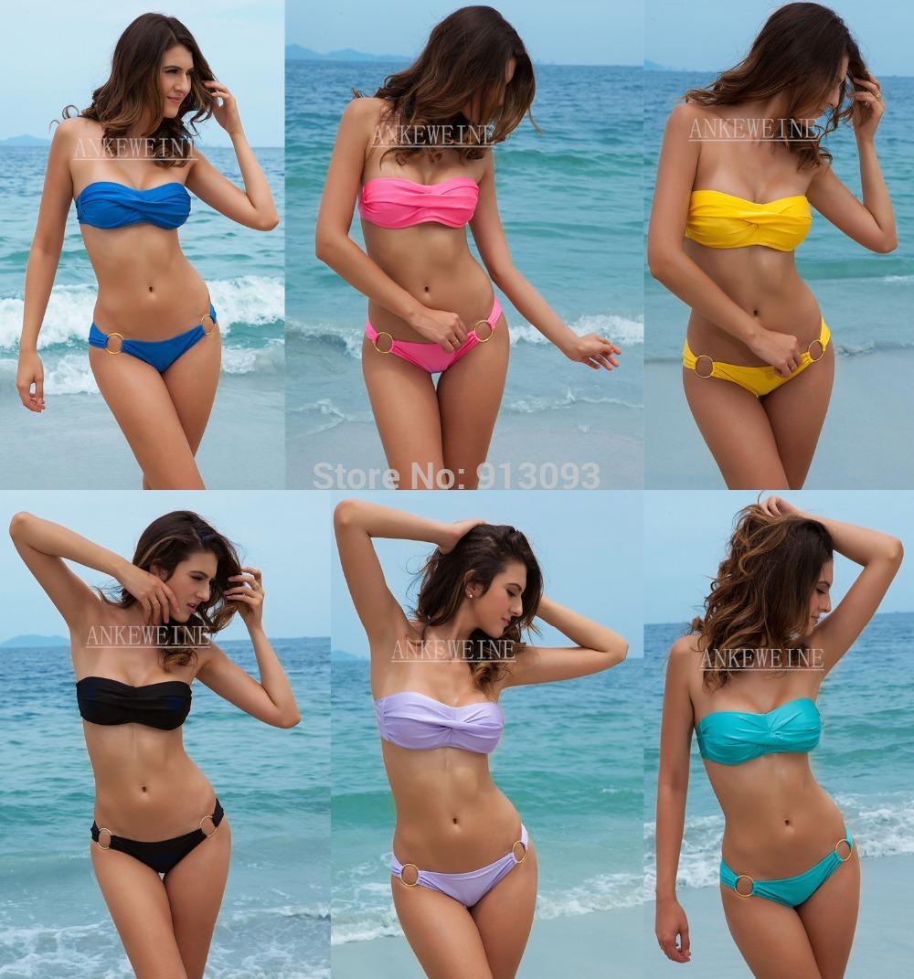 Fashion Brand woman Sexy bikini with PAD Hot swimsuits Ladies Padded Bra Low Rise swimwear beachwear 6 colors T5(China (Mainland))
